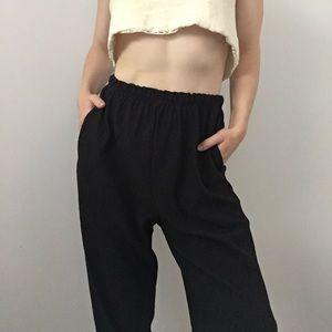 Vintage high waisted drop crotch crinkle pants